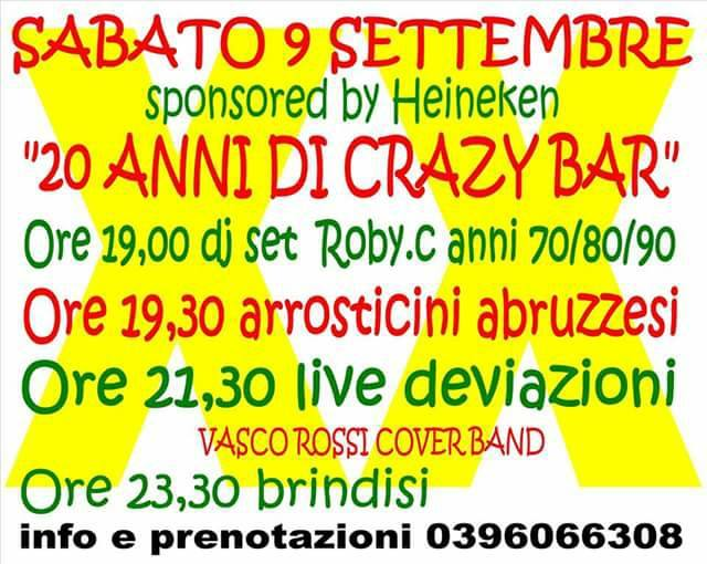Crazy Bar: festa per i 20 anni di attività